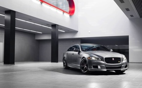 Picture Jaguar, Auto, Jaguar, Silver, Sedan, Lights, The front, The room, 2014, XJR