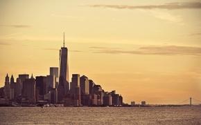 Picture sunset, New York, horizon, Manhattan, One World Trade Center