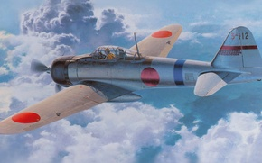 Picture war, ww2, zero, japanese aircraft, a6m, painting art