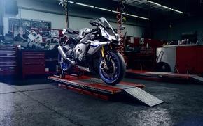 Picture metal, motorcycle, workshop, workbench