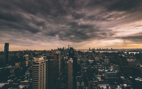 Picture clouds, New York, horizon, twilight, Manhattan, One World Trade Center, United States, 1WTC, OWTC