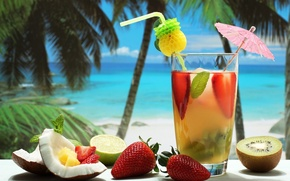 Picture beach, summer, glass, stay, food, coconut, kiwi, strawberry, cocktail, lime, tube