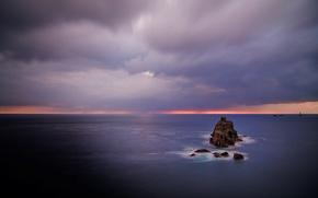 Wallpaper sea, rocks, Clouds, horizon