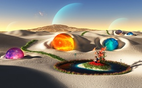 Picture the sky, desert, planet, island, color, oasis, sphere