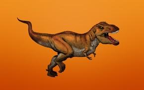 Wallpaper dinosaur, predator, Dinosaur, toothy, Tyrannosaurus, reddish background, Tyrannosaurus, T-Rex