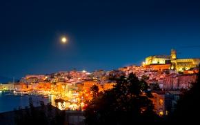 Picture Night, The moon, Italy, Moon, Fortress, Italy, Night, Italia, Harbour, Gaeta, Gaeta, Latina