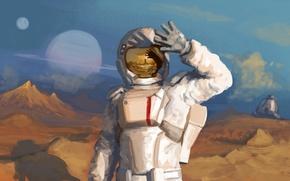Picture light, reflection, planet, astronaut, the suit, helmet, astronaut