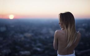Picture girl, the sun, sunset, horizon, bokeh, Jesse Duke