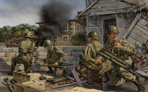 Picture anti-tank, lined, art, France, soldiers, German, WW2, the city, smoke, figure, tank, readiness, fire, shot, ...