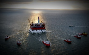 Picture sea, the sky, the sun, the ocean, ships, tanker, platform, oil, mining, oil