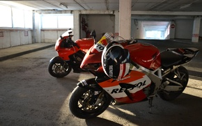 Picture red, sport, motorcycle, Parking, bike