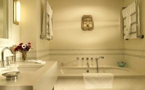 Wallpaper sink, bath, bathroom, a heated towel rail