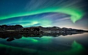 Wallpaper sea, the sky, mountains, night, lights, rocks, North