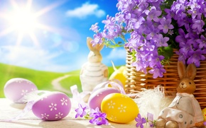 Picture light, hare, eggs, spring, Easter