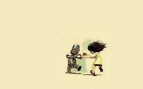 Picture robot, girl, dance