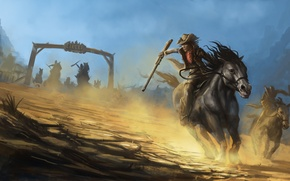 Picture weapons, chase, horse, the bandits, painting, cowboys, hats