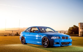 Picture the sky, blue, reflection, black, bmw, BMW, drives, blue, e46