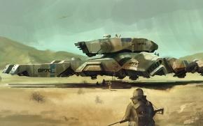 Picture weapons, war, desert, technique, soldiers, dreadnought