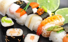 Picture lime, sushi, rolls, seafood, red caviar, cumin, crab stick