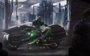 Picture bike, fan art, Final Fantasy VII, Cloud Strife, FFVII