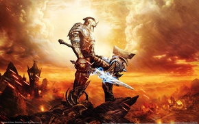 Picture weapons, rocks, fire, magic, sword, armor, hammer, warrior, Kingdoms of Amalur, Reckoning