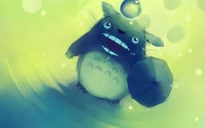 Wallpaper drawing, animal, Art, drool, umbrella, ball, anime, Wallpaper, figure, mood, Apofiss, totoro no rain, Totoro, ...