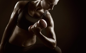 Picture pose, workout, weights, sportswear, woman fitness