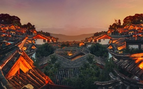 Wallpaper roof, the sky, mountains, night, the city, lights, China, China