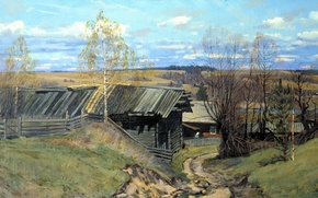 Picture road, the sky, clouds, trees, landscape, hills, picture, painting, hut, Leaving Russia, Anokhin