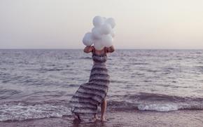 Picture waves, girl, beach, twilight, dress, sea, ocean, seascape, dusk, seaside, horizon, wind, foam, balloons