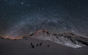 Picture the sky, stars, snow, mountains, night, the milky way