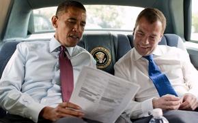 Picture smile, tie, salon, presidents, Obama, reading, red and blue, Dmitry Medvedev, barack obama