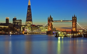 Picture night, lights, England, London, Tower bridge, tower shard