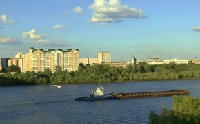 Picture summer, clouds, river, island, The city, steamer, OMSK