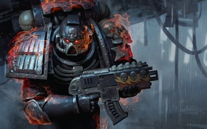 Picture weapons, fire, warrior, Warhammer, power armor