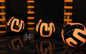 Picture surface, light, orange, reflection, balls, pattern, neon, art, gloss, sphere, cylinders