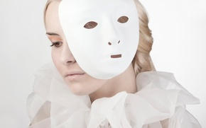 Picture girl, portrait, makeup, mask, behind the mask