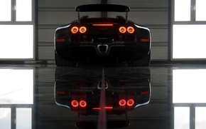 Picture reflection, lights, bugatti