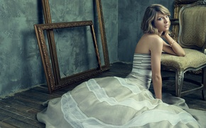 Wallpaper wall, on the floor, sitting, hairstyle, frame, photographer, Taylor Swift, model, dress, Miller Mobley, posing, ...