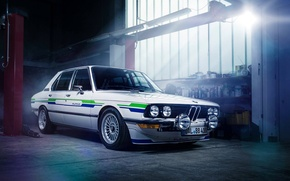 Picture BMW, Sun, E28, Garage, Alpina, 1983, Ligth