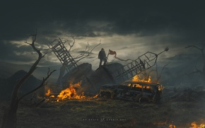 Picture ash, fire, Apocalypse, people, devastation, revolution, protest, red flag, Asabin, Acabinet, the depressing mood, AsabinART, …