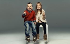 Picture children, style, laughter, jeans, boy, girl, girl, friends, boy, sweater, laugh, friends, children