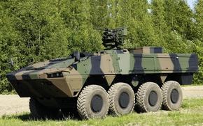 Picture gun, weapon, Patria AMV, 8x8, vegetation, machine gun, heavy weapon, Armored Modular Vehicle, the Finnish ...
