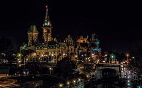 Wallpaper Canada, night, tower, Ottawa, lights