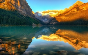 Picture forest, sunset, mountains, nature, lake, Canada