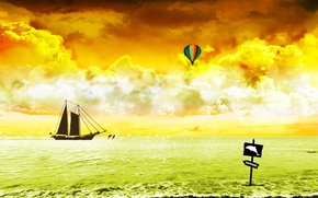 Wallpaper sea, Yacht, vector, ball