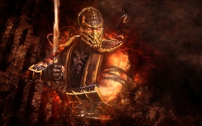 Picture abstraction, sword, Scorpio, Mortal Kombat, Scorpion, video game
