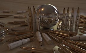Wallpaper cartridges, reflection, sleeve, ball, bullets, Shine