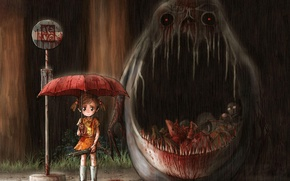 Picture meat, my neighbor Totoro, horror, blood, tonari no totoro