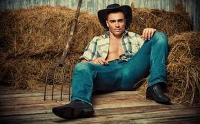 Picture jeans, hat, hay, shirt, cowboy, guy, pitchfork